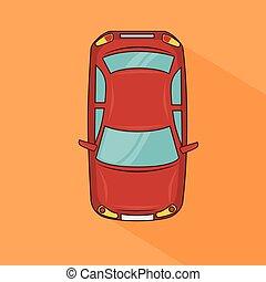 wóz, górny, projektować, czerwony, przewóz, prospekt