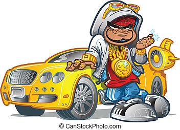wóz, gangsta, rajfur