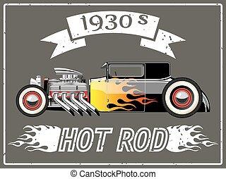 wóz, gorący pręt