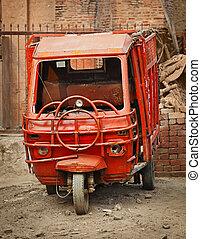 wóz, grunge, czerwony, ładunek, mały
