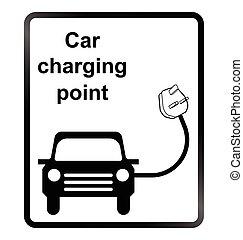 wóz, informacja, elektryczny, znak
