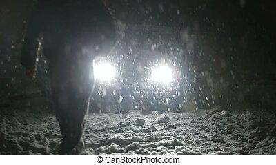 wóz, jego, kierowca, śnieżyca