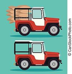 wóz, kawa, przewóz, ikona