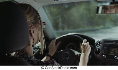 wóz, kierowca, odbijał się, samica, lustro, tylny prospekt