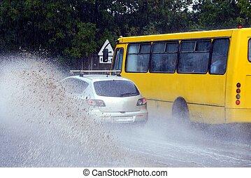 wóz, koła, plamy, żółty, autobus