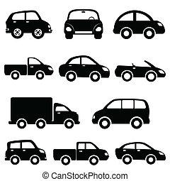 wóz, komplet, wózek, ikona