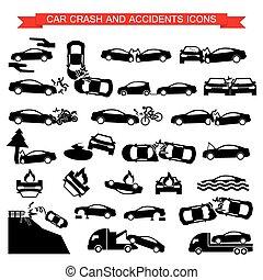 wóz, kraksy, ruina, ikony
