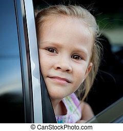 wóz, mała dziewczyna, posiedzenie