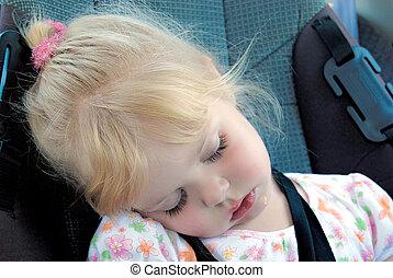 wóz, mały, spanie, dziewczyna, miejsce