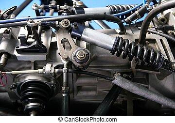 wóz maszyna, szczegół, jeden, formułka