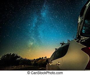 wóz, mleczny, krajobraz, droga, noc