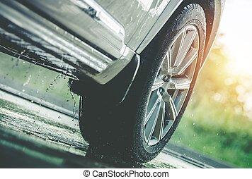 wóz, napędowy, deszcz