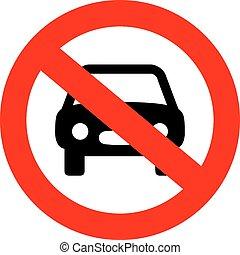 wóz, nie, znak