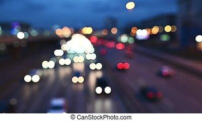 wóz, noc, barwny, ulica, świecić, sygnalizacja świetlna, traffic., night., bokeh, miasto, okrągły, dżem, wozy