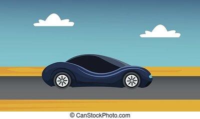 wóz, ożywienie, hd, droga, futurystyczny