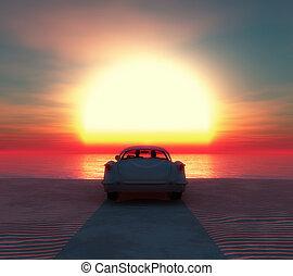 wóz, para, plaża