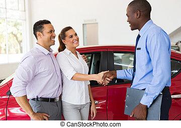 wóz, para, sprzedawca, uzgodnienie