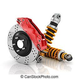 wóz, parts., absorbers., zarośla, auto