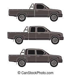 wóz, pickup, wektor, wózek, ilustracja