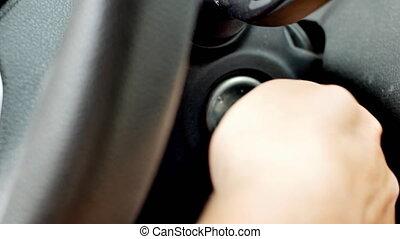wóz, początkowy, otwarcie, video, człowiek, drzwi, następstwo, engine.