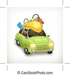 wóz, podróż, ikona