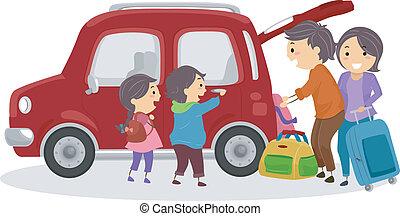 wóz, podróżowanie, stickman, rodzina