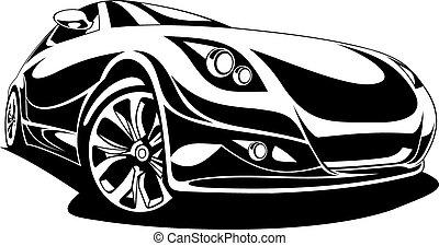 wóz, projektować, czarnoskóry, biały, mój