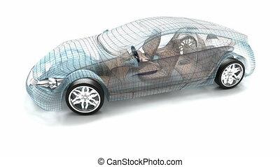 wóz, projektować, drut, wzór