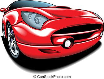 wóz, projektować, oryginał, mój, czerwony