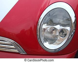 wóz, reflektor, czerwony