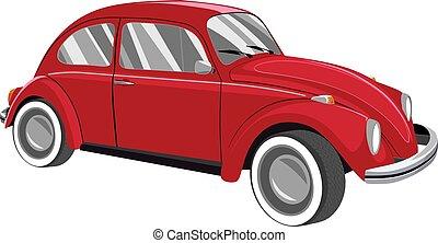 wóz, retro, czerwony