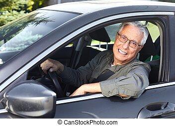 wóz, senior, kierowca