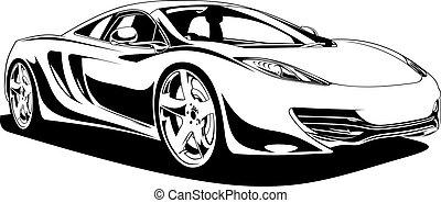 wóz, sport, projektować, oryginał, mój