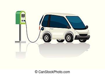 wóz, stacja, elektryczny, rumak