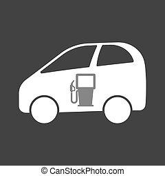 wóz, stacja, gaz, elektryczny, odizolowany