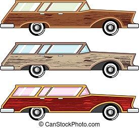 wóz, stacja, przystrzyc, drewno