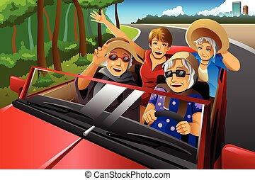 wóz, starszy, jeżdżenie, szykowny, szczęśliwi kobiety