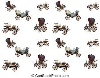 wóz, stary, pattern., seamless, odizolowany, tło., biały, horses.