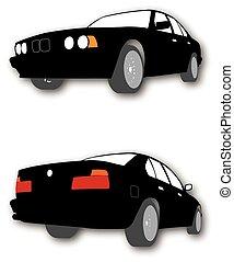 wóz, sylwetka, wektor, czarnoskóry
