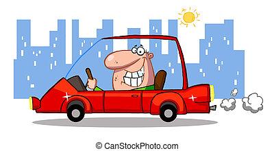 wóz, szczerzenie zębów, człowiek, czerwony, napędowy