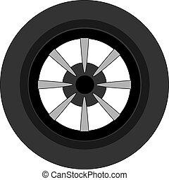 wóz, tło., biały, ilustracja, koło, wektor