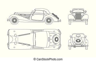 wóz, tło., cabriolet., wstecz, odizolowany, rysunek, górny, ...