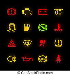 wóz, tablica rozdzielcza, ikony