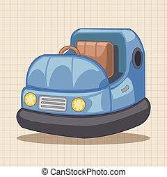 wóz, temat, elementy, plac gier i zabaw, zderzak