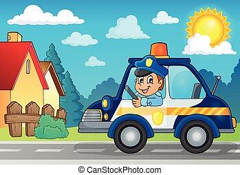 wóz, temat, policja, wizerunek, 3
