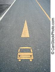 wóz, ulica, grunge, znak