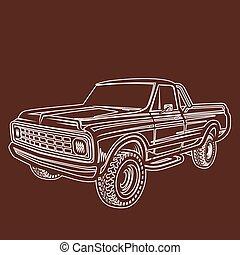 wóz, wózek, 4x4, pickup, od-drogi