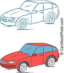 wóz, wektor, bazgrać, pojazd