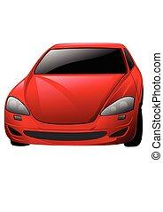 wóz, wektor, czerwony