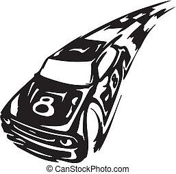 wóz, wektor, -, ilustracja, prąd